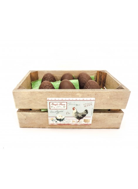6 oeufs en chocolat dans caisse
