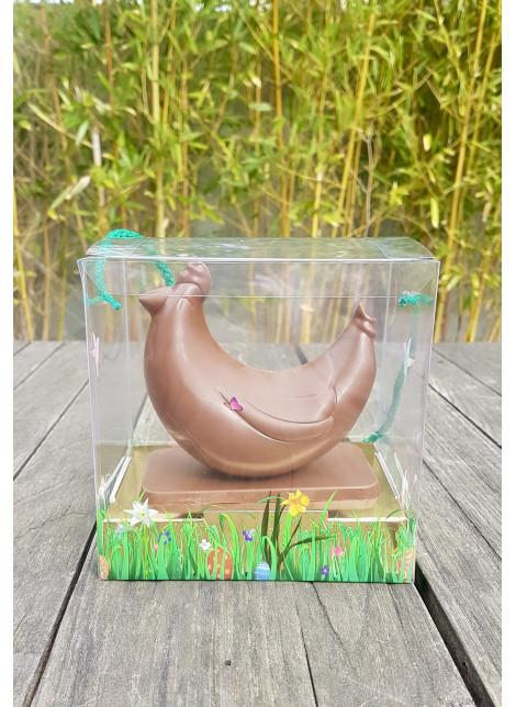 Poule Design en chocolat lait